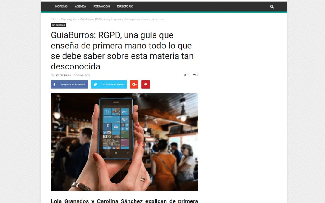 EnFranquicia se hace eco del GuíaBurros: RGPD, de Carolina Sánchez y Lola Granados